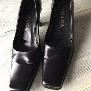 Prada Black leather square toe 2in block heel 8